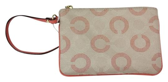 Coach Zip Wristlet in Khaki/Pink