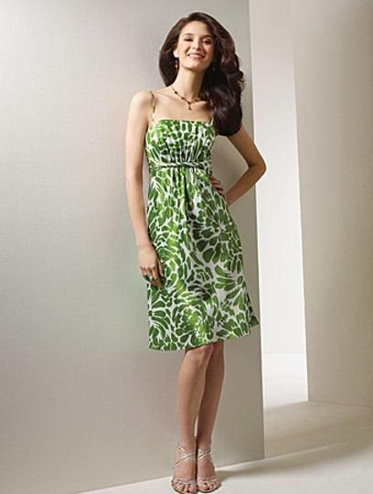 Alfred Angelo Moss Green / White Satin Style 7058 Casual Bridesmaid/Mob Dress Size 10 (M)