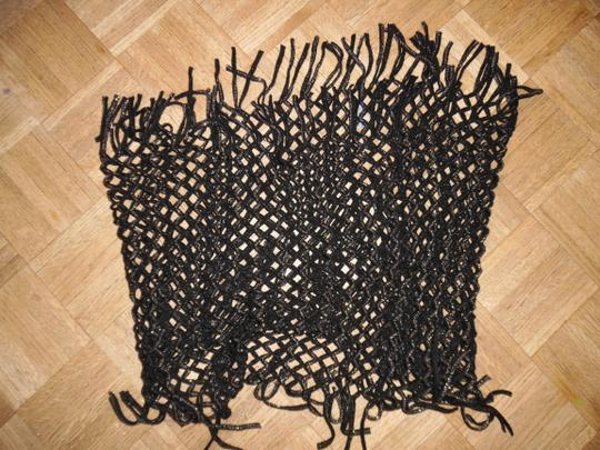 D&Y D&Y Brand Black & Gold Fringy Loose-Knit Mesh Infinity Scarf