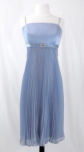 Alfred Angelo Riviera Sky Satin / Chiffon Style 6582 Casual Bridesmaid/Mob Dress Size 12 (L)