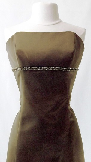 Alfred Angelo Mocha Satin Style 7048 Casual Bridesmaid/Mob Dress Size 12 (L)
