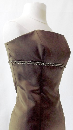 Alfred Angelo Mocha Satin Style 7048 Casual Bridesmaid/Mob Dress Size 12 (L) Image 5