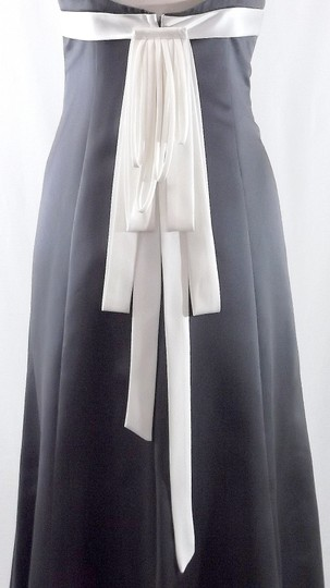 Alfred Angelo Charcoal / Ivory Satin Style 7005 Casual Dress Size 6 (S)