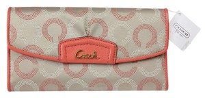 Coach Coach Ashley Dotted OP Art Check Book Wallet F48049 - Khaki/TeaRose