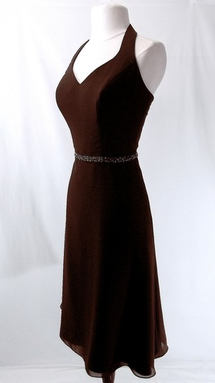Alfred Angelo Chocolate Chiffon Style 6323 Casual Bridesmaid/Mob Dress Size 10 (M)