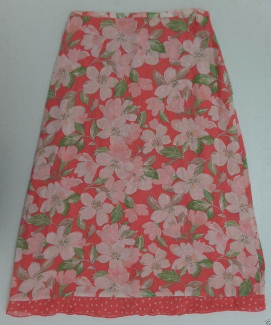 Emma James Reversible Skirt Pink, Coral & White Floral Print on one side and Coral with Beige & White Polka Dots on other side