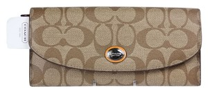 Coach * Coach Peyton Signature Wallet F49154 - Khaki/Tangerine (Orange)