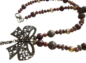 Other Antique Style Bronze Tone Bowknot Jade Orange brown necklace