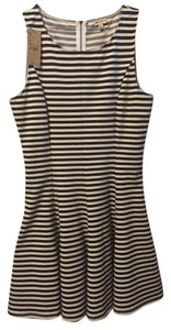 Daniel Cremieux short dress Navy Stripe Figure Flattering Bell Curve Back Zipper Sleeveless on Tradesy