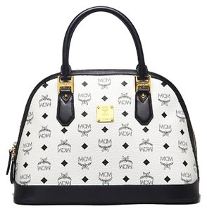 MCM Satchel in black and white