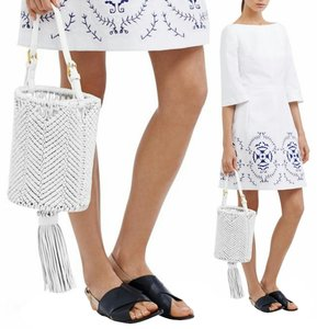 Tory Burch Bucket Style Leather Woven Tote in white