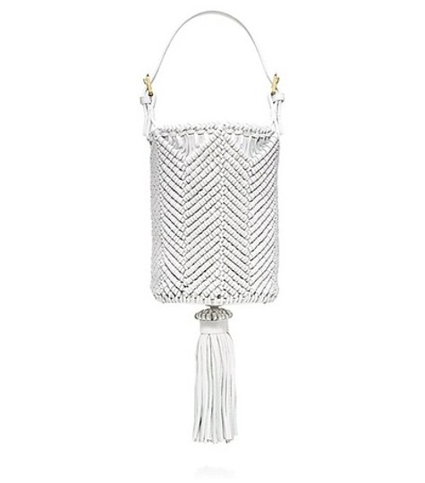 Tory Burch Bucket Leather Woven Tote in white