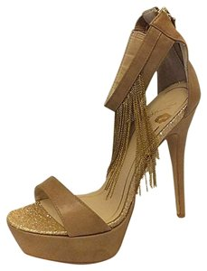 Victoria's Secret Colin Stuart Platform Chain Heels Beige Pumps