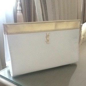 Saint Laurent White And Gold Clutch