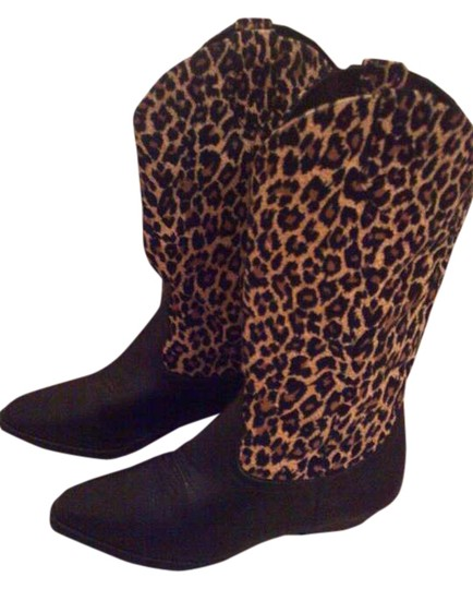 Newport News Animal Print Black and leopard Boots