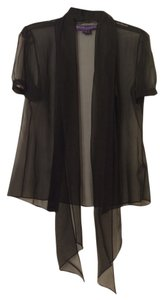 Ralph Lauren Sheer Silk Button-down Top Black