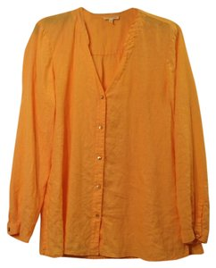 Eileen Fisher Linen Button Down Shirt Orange