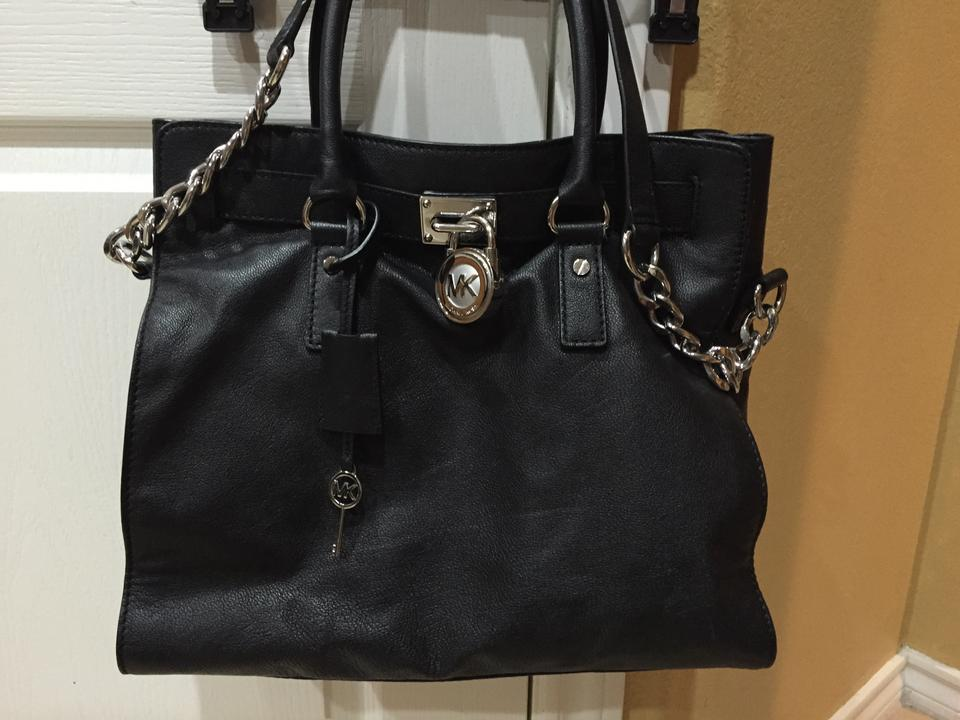 2149bc351c21 Michael Kors Hamilton Large Lock And Black Saffiano Leather Tote ...