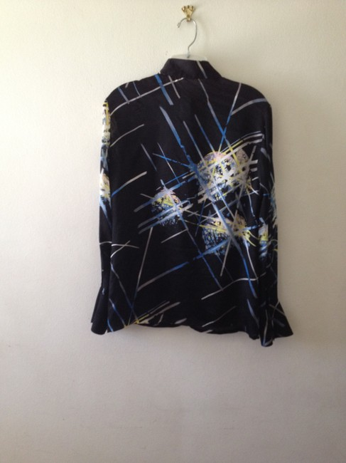 Versace Top Black with multi color abstract print