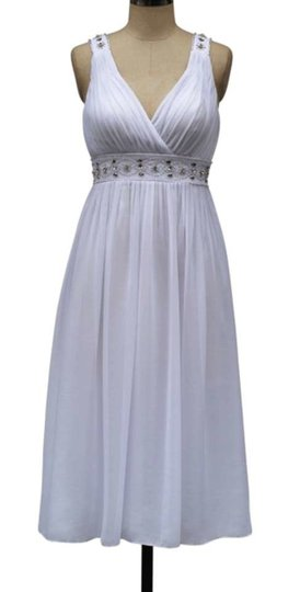 White Chiffon Embellished Goddess V-neck Feminine Dress Size 12 (L)