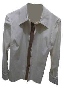 St. John Nordstrom Button Down Shirt White with gold trim