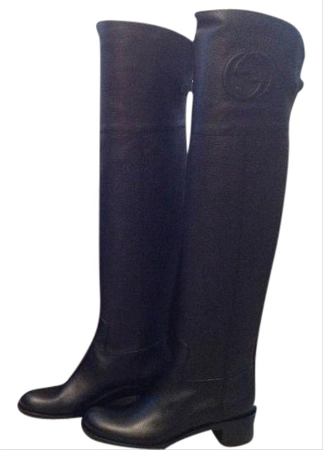 Item - Black Embossed Gg Leather Over-the-knee Low Boots/Booties Size US 7 Regular (M, B)