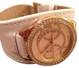 Guess By Marciano Gold And White Leather Watch