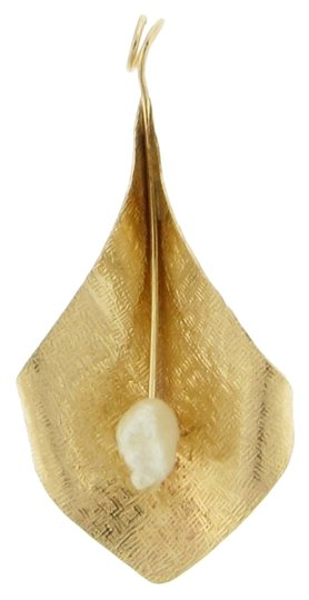 Other Designer 14k gold pearl lily pendant
