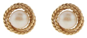 DIAMONDSY Stunning 14k yellow gold 6.6 mm cultured pearl with twisted rope border stud earrings