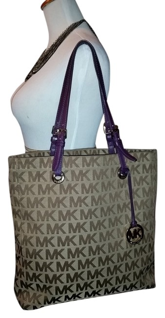 Item - Beige and Purple Canvas Tote