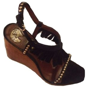 Sam Edelman Moccasin Fringe Strappy Studded Suede Wood Black Wedges