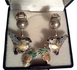 Zahah Chickadee Baby Bird Sterling Silver & Enamel screwback Earrings by Zarah