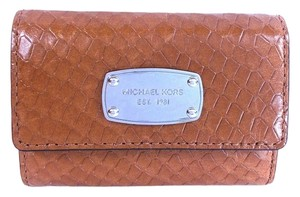 Michael Kors Michael Kors Flap Coin Embossed Leather Purse Key Chain Case NWT