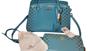 Coach Wallet Gold Stud Cadet Satchel in blue (cadet/aqua) 3 PCS PACKAGE DEAL