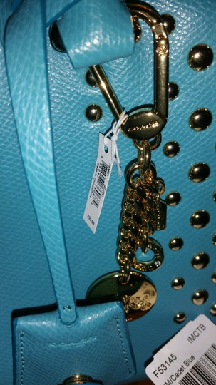 Coach Wallet Gold Stud Satchel in blue (cadet/aqua) 3 PCS PACKAGE DEAL