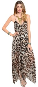 Brown Maxi Dress by Other Animal Print Strappy Flowy Summer