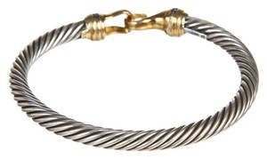 David Yurman David Yurman Sterling Silver and Gold Hook Cable Bracelet