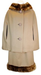 Union made Ultimate True Vintage Jackie Onassis Style 1960's Mad Men Mouton Fur Brown Cape Dress