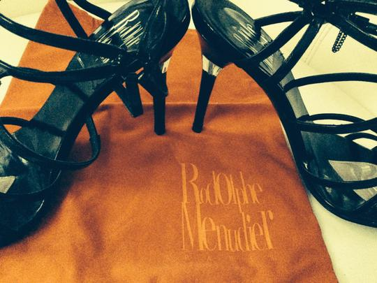 Rodolphe Menudier Cage Chain Patent French Stiletto Black Leather Sandals
