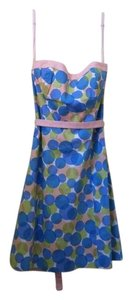Robin Jordan short dress Pink, blue, green, white polka dot Strapless on Tradesy
