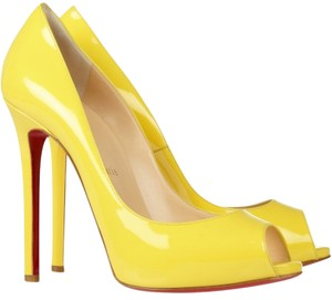 Christian Louboutin Patent Leather Yellow Pumps
