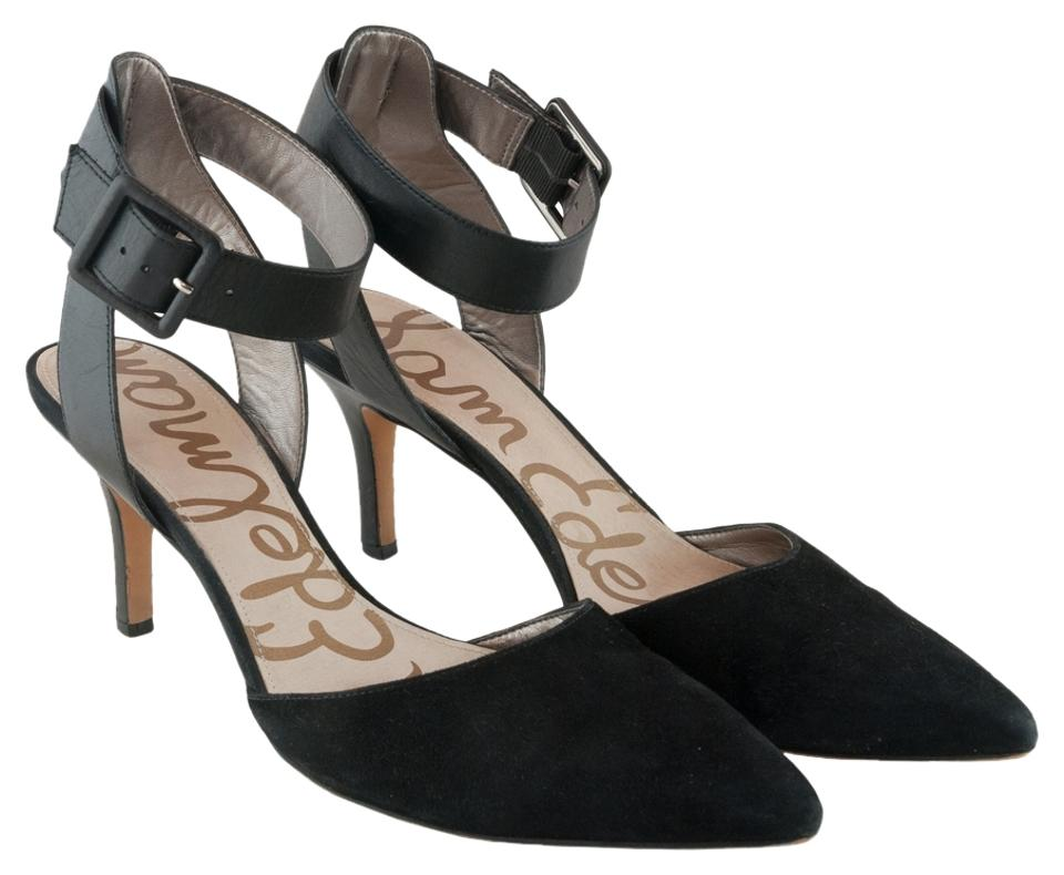 8e4159fe0 Sam Edelman Pointed Toe Ankle Strap Leather Suede Black Pumps Image 0 ...