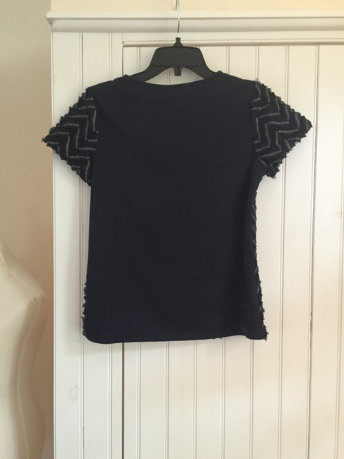 Anthropologie T Shirt Navy and Silver