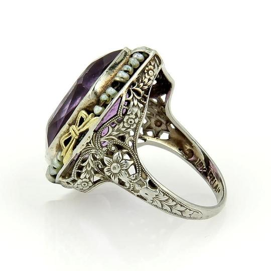 Other Art Deco 18k Two Tone Amethyst & Seed Pearls Open Floral Filigree Ring