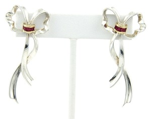 Tiffany & Co. Tiffany & Co. Sterling Silver 18k Yellow Gold & Rubies Bow Long Drop Earrings