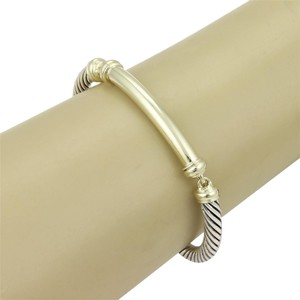 David Yurman David Yurman Metro Bar 14k YGold & Sterling Silver 3 Part Cable Bracelet