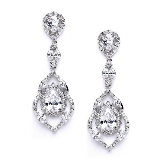 Silver/Rhodium Glamorous Brilliant A A A Crystal Couture Earrings