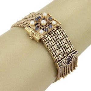 Estate14k Yellow Gold Sapphire Pearls & Enamel Belt Buckle Tassel Bracelet