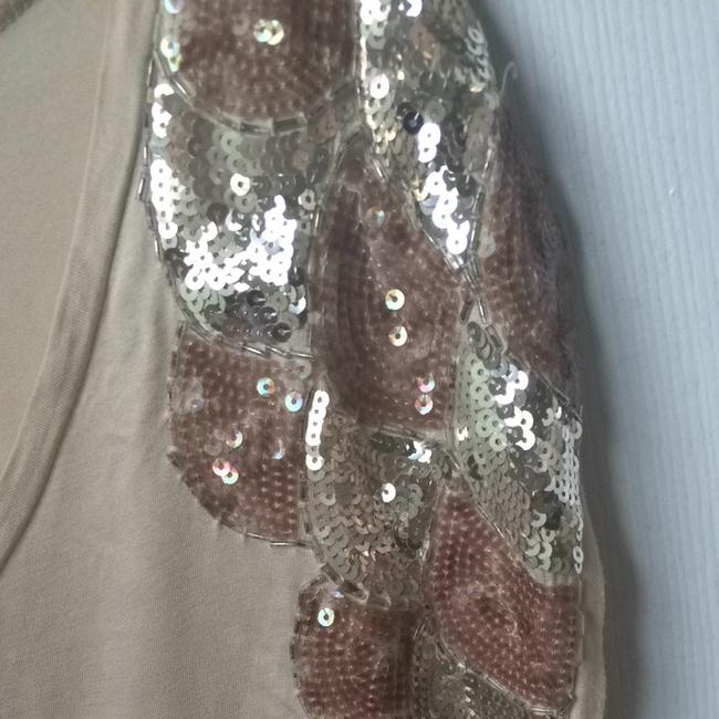 H&M Top Beige Sequin Shoulders