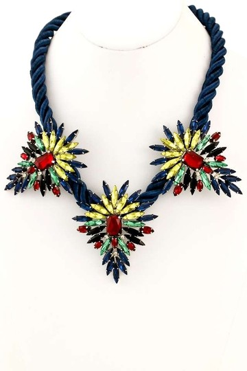 Unknown Bold and Beautiful Colorful Petals Rope Statement Necklace